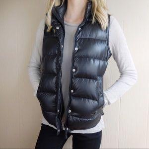 J. Crew Black Shiny Puffer Down Vest Size XS